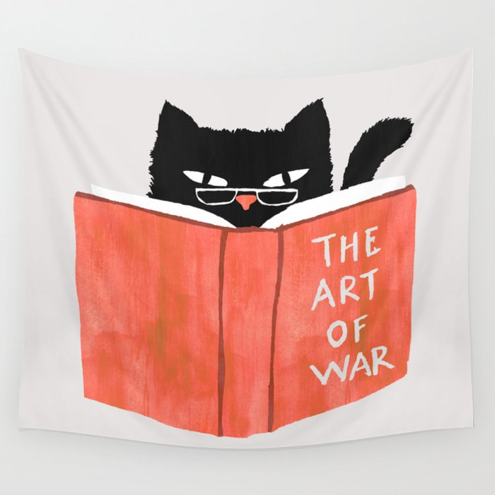 Tapiz de animales para lectura de gatos, tapiz para colgar en la pared, decoración de dormitorio, sala de estar, bonito tapiz de pared