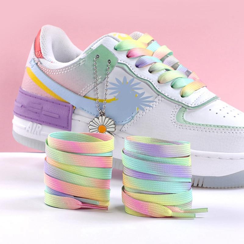 Flat Shoelaces Rainbow Colour Shoe Laces Casual Canvas Shoes Colorful Shoelace Print Gradient Suitab