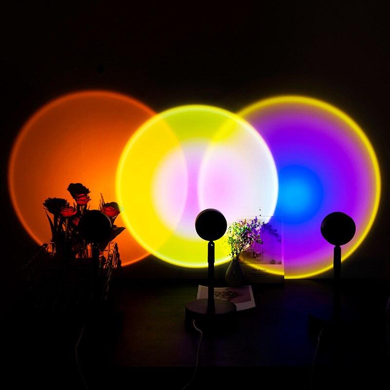 قوس قزح الغروب العارض مصباح LED ليلة ضوء زينة ملونة مصباح إسقاط المنزل نوم جو أضواء الليل الجدول مصباح
