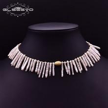 GLSEEVO Natürliche Barocke Perle Choker Halskette Für Frauen Party Engagement Vintage Luxus Schmuck Einstellbar Colar Feminino GN0210