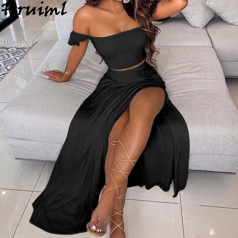 Sexy Split Skirt and Top Set Off Shoulder Strapless Crop Top Long Skirt Set summer Solid Black Beach Club Outfits Mujer Faldas