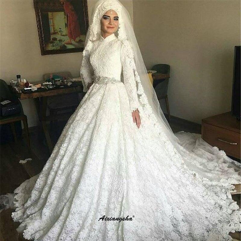 Blanco De encaje musulmán vestidos De novia De manga larga De lujo De tren bufanda Dubai árabe De boda Vestido De novia