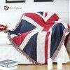 Liv-Esthete 100% bawełna brytyjska flaga rzut koc pomponem koc dla dorosłych Sofa łóżko do spania torba Wrap dzianinowy koc najlepsze prezent
