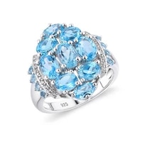 gz zongfa wholesale dazzling oval natural blue topaz 925 sterling silver ring for women party fashion jewelry