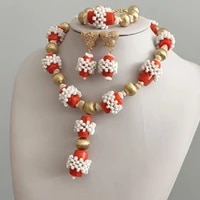 4ujewelry african women style orange original coral white beaded party jewelry set simple nigerian wedding bridal jewelry 2019