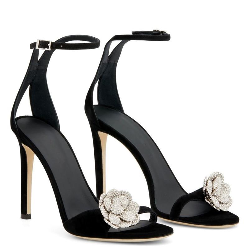2021 Summer Women Sandal New Rhinestone Flower High Heels Sandals Thin Heel Diamond Black Sexy Open Toe Women's Shoes Pumps