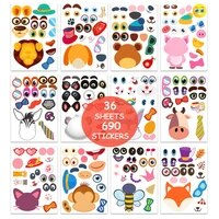 sharkbang 36 sheets 690pcs make a face sticker sheets animal for kids puzzle cartoon stickers kids learning education gift set