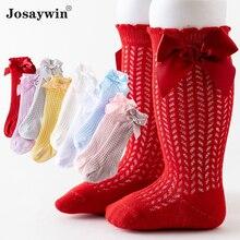Summer Spring Newborn Socks Baby Girls Kids for Christmas Winter Bow Mesh Knee High Non-slip Skarpet