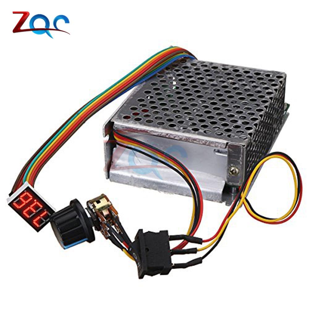 Adjustable DC 10-55V 60A DC Motor Speed Controller PWM 12V 24V 48V 2000W MAX 100A Reversible Potentiometer On/Off/On Switch