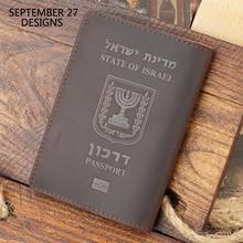 Israe Passport Cover Men Genuine Leather Retro Passport Case Women Crazy Horse Leather Handmade 100% Cowhide Travel Passport Bag