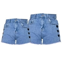 mothers day 2021 love stretch jeans shorts pantsfor baby girl mom family matching outfits loose baby clothes streetwear summer