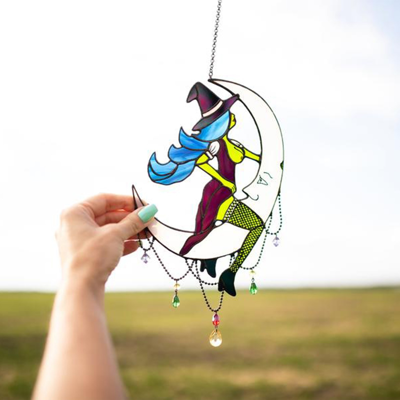 Stained Acrylic Witch Hanging Sunbathing on Moon Decor Glass