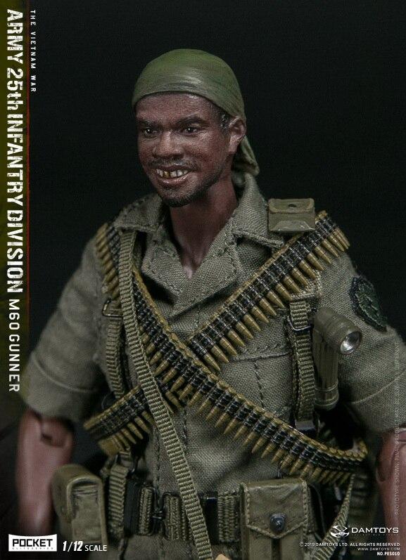 Damtoys 1/12 pocket elite series exército 25th infantaria divisão m60 gunner n° pes010
