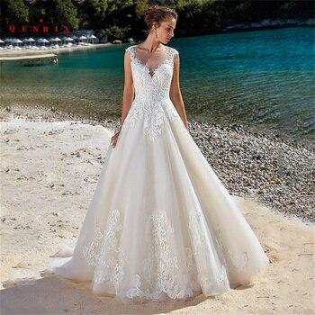Elegant A-line Wedding Dresses Floor Length Tulle Lace Appliques Formal Bridal Gown 2022 New Design Custom Made DS51