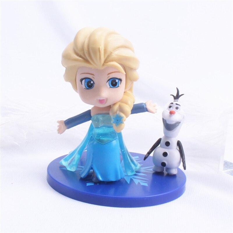 Disney Elsa Princess Figures  Frozen Olaf PVC Birthday Cake Ornament Model Collection Figurine Toys for Kids Christmas gift недорого