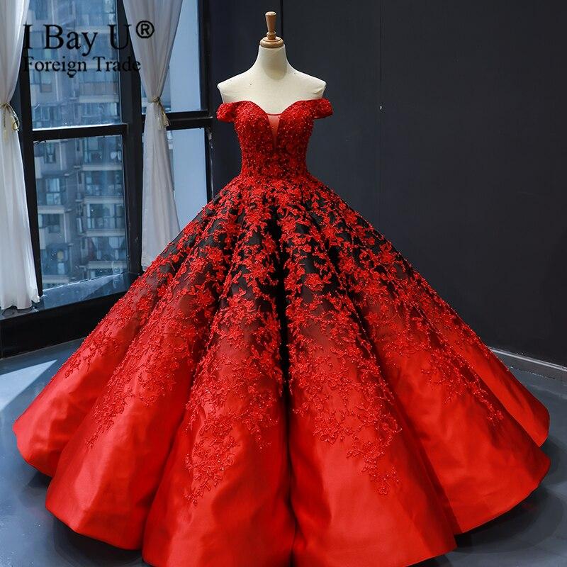 فستان زفاف من الساتان ، أحمر ، أسود ، متدرج ، دائرة منتفخة ، دانتيل ، بلا أكمام ، فساتين زفاف فاخرة ، مصنوعة حسب المقاس ، مجموعة 2020