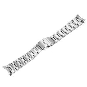 CARLYWET 20 22mm Silver Brushed Hollow Curved End Solid Links Replacement Watch Band Strap Bracelet Double Push Clasp For Seiko