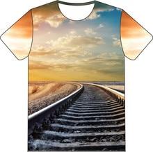 Çocuk giyim T-shirt erkek kız kız Camisetas 3D T shirt demiryolu zinciri köprü Galaxy yol baskı Camiseta gömlek giyim gömlek