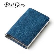 Bisi Goro 2020 affaires crédit porte-carte unisexe métal RFID Vintage unique boîte fou cheval PU cuir carte portefeuille livraison directe