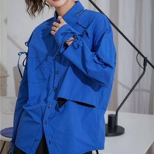 ZCSMLL Blue Butterfly Hollow Out Women Blouses Female Niche Full Sleeve Turn-down Collar Shirt 2021 Spring Summer Tops