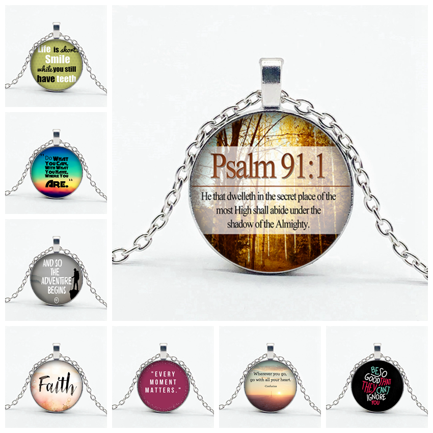 Christian Inspirational Quotes Necklace Various Letters Pattern Dome Glass Pendant Necklace Christia