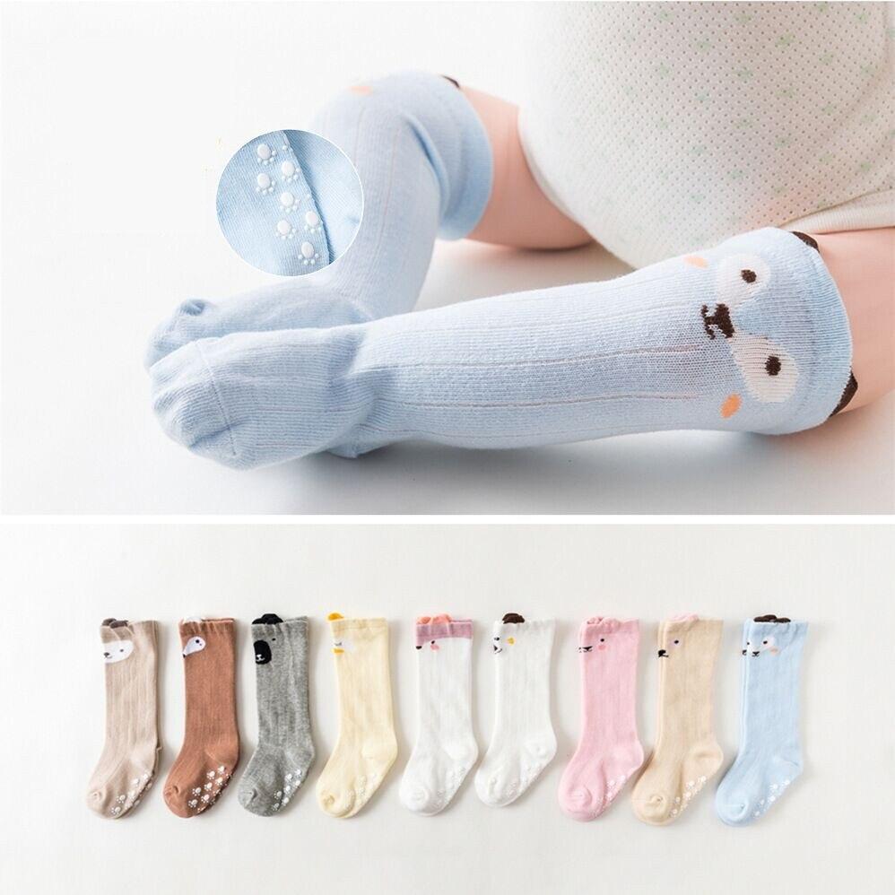 Adorável bonito dos desenhos animados crianças meias de joelho do bebê da menina do menino do bebê da criança anti deslizamento meias de algodão macio infantil animal 0-4y