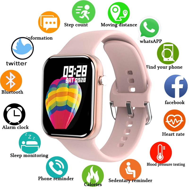 2021 New Color Screen Smart Watch Women men Full Touch Fitness Tracker...