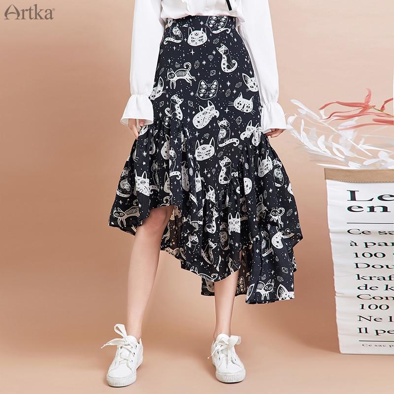 Женская шифоновая юбка ARTKA, модная юбка с принтом кота, элегантная юбка с оборками, QA15297Q, весна 2020