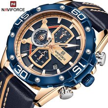 NAVIFORCE Fashion Blue Gold Men Watch luxury Leather Quartz Man Watches Military Sport Waterproof Ma