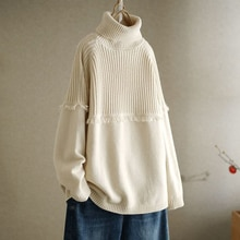 Winter Clothes Women Turtleneck Tassel Simplicity Knitted Sweater Korean Lazy Style Ladies Sweaters