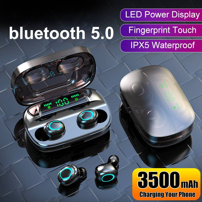 Auriculares inalámbricos bluetooth V5.0 auriculares inalámbricos bluetooth 9D auriculares deportivos estéreo a prueba de agua con Banco de energía de 3500mAh