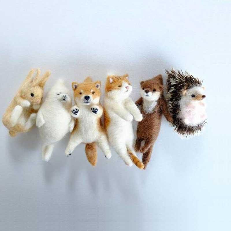 2020 Милая Акита собака кошка панда енот кролик животное шерсть игла валяния посылка материал Сделай Сам войлочные комплекты не Готовая