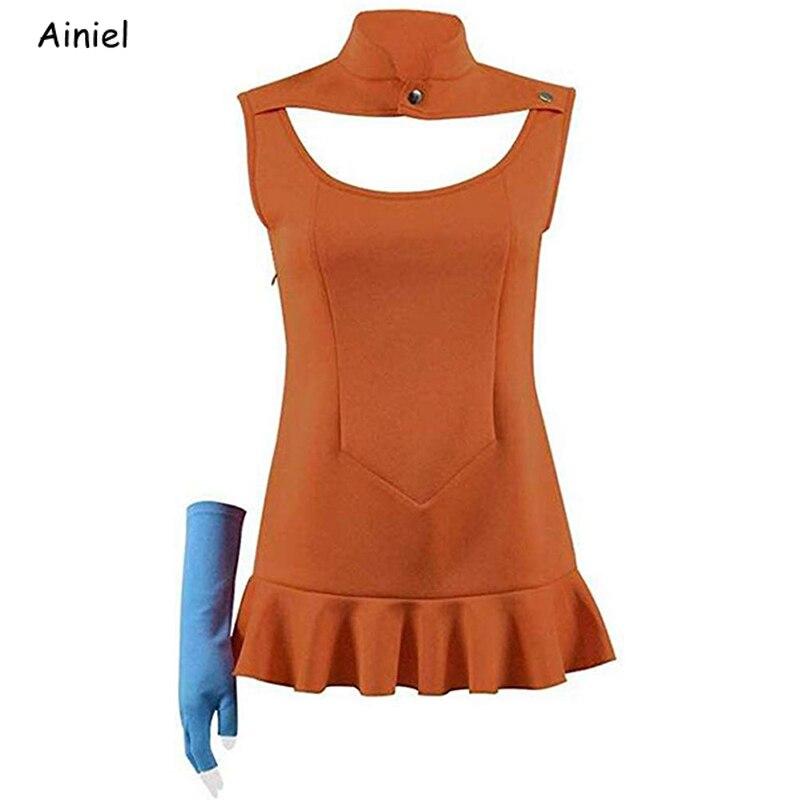 Disfraz de Cosplay de los siete Sines capitales, disfraz de spipents Sin envidity, uniforme naranja con guante y Top, Disfraces de Halloween para mujer