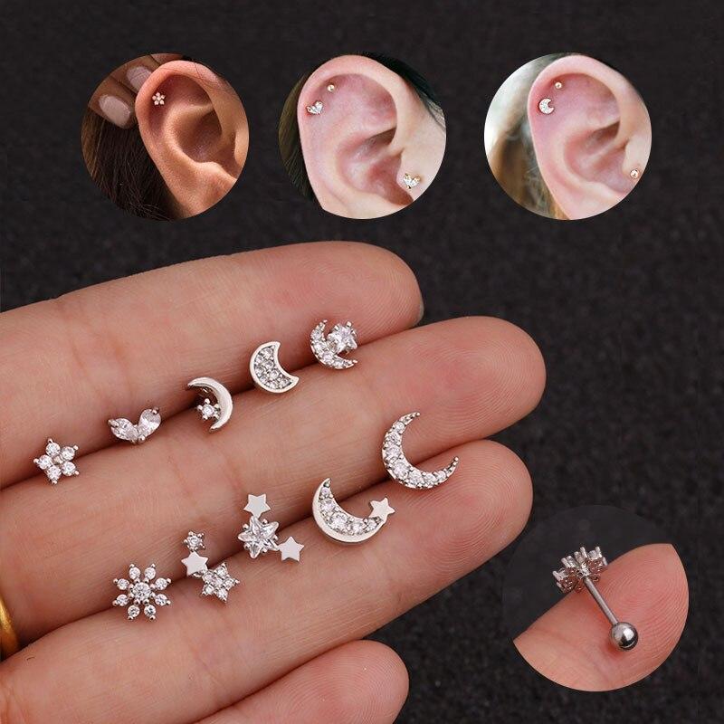 Pendientes chapados de tuerca en plata con forma de estrella y flor Monn para mujer, 1 pieza, pendientes de circonita pequeña de acero inoxidable, joyería para Piercing de oreja Boho