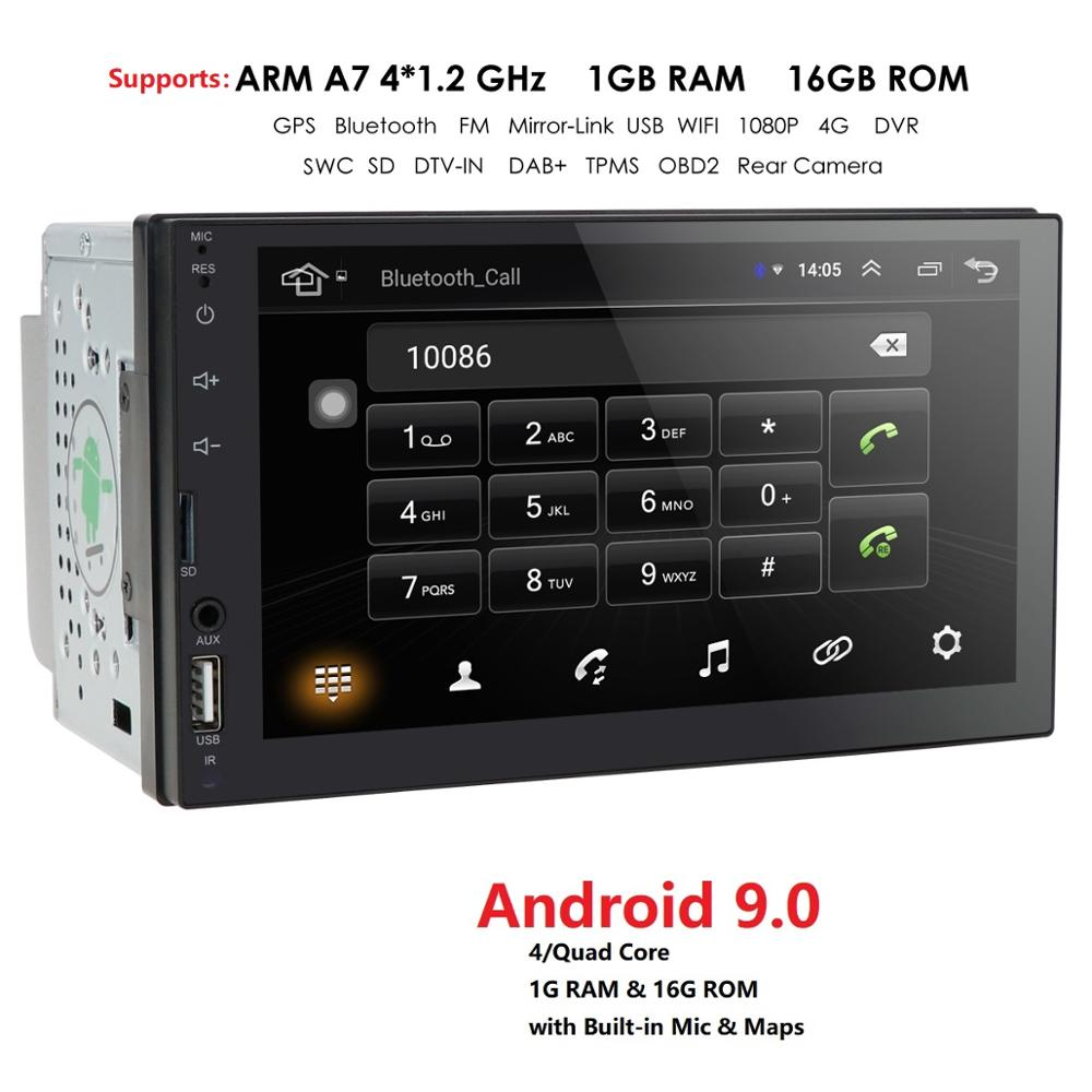 "Universal Android 9,0 7 ""2Din la Radio del coche de GPS de la pantalla táctil reproductor Multimedia para Nissan TOYOTA Kia RAV4 Honda VW Hyundai OBD SWC BT"