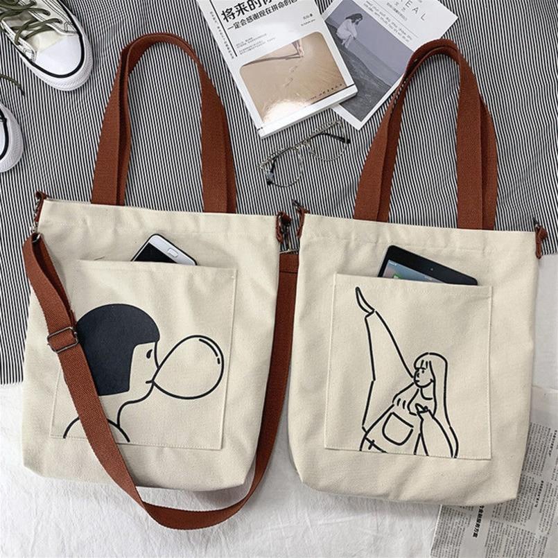 Canvas Bag Women Messenger Bag Large Capacity Shopping Bag Versatile Canvas Bag Slung Female Student