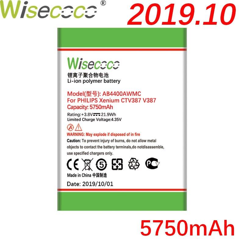 Nueva batería potente Wisecoco AB4400AWMC de 5750mAh para PHILIPS Xenium V387 CTV387, reemplazo de batería de teléfono + número de seguimiento