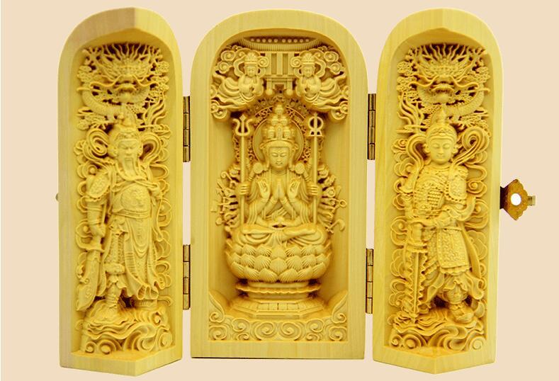 Decoración 100% boj alta dificultad tallada dios de la riqueza estatua CAJA...