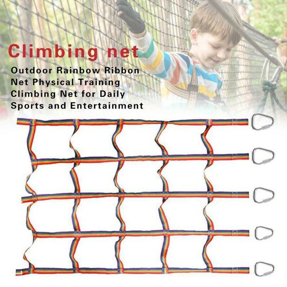 مونتيسوري في الهواء الطلق الأطفال شبكة تسلق قوس قزح الشريط صافي المادية معلقة تسلق التدريب خطوة ملعب للأطفال سوينغ مغرفة