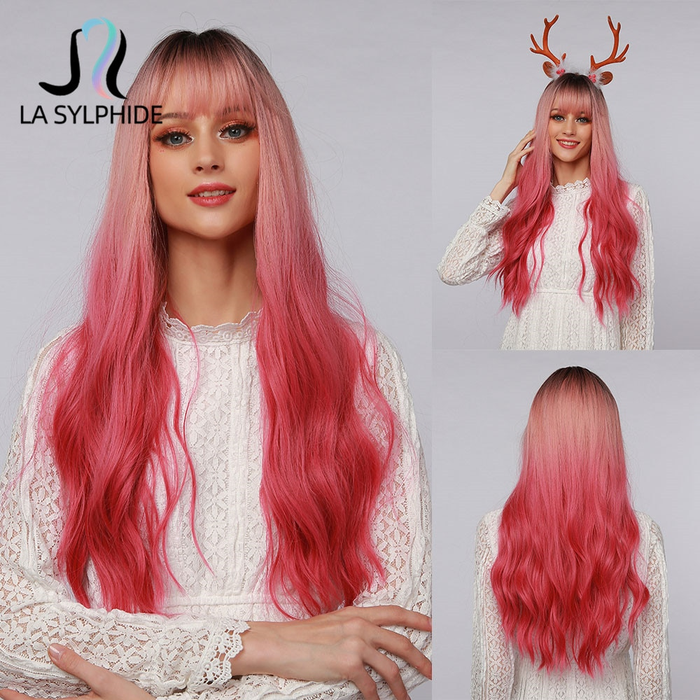 La Sylphide Halloween Cosplay Wig Long Wave Root Black Ombre Pink Synthetic Hair Wigs for Woman Heat