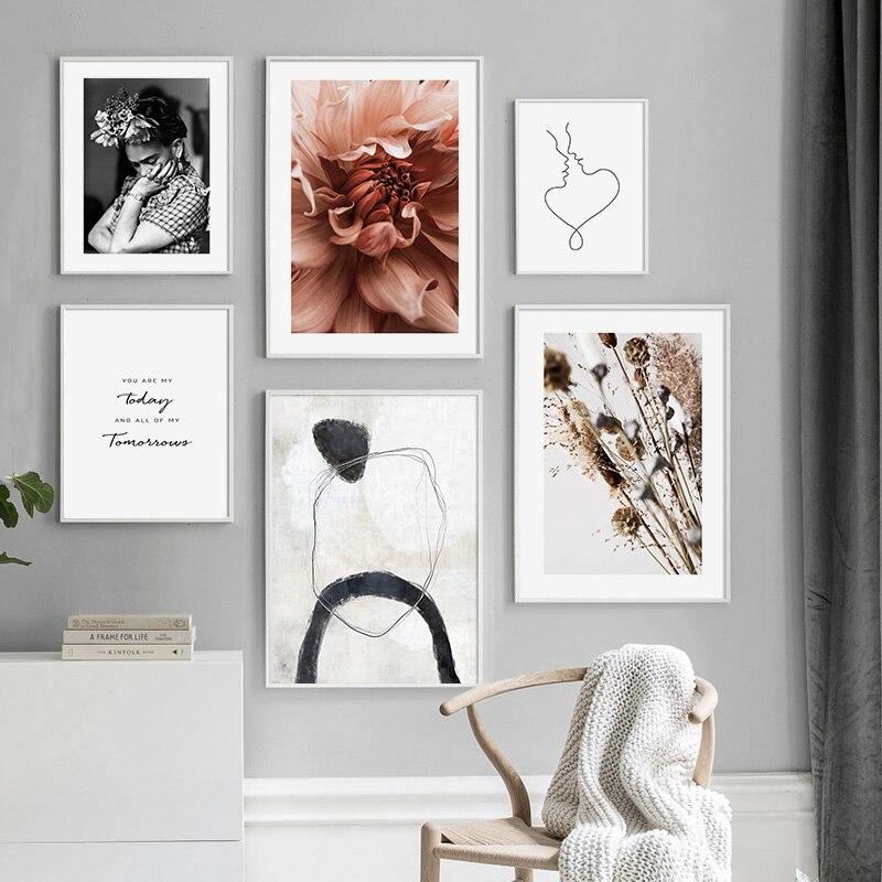 Lienzo de dibujo de línea de flores escandinavas, pintura abstracta de cartel nórdico, Impresión de Arte de pared, imagen moderna, decoración de sala de estar