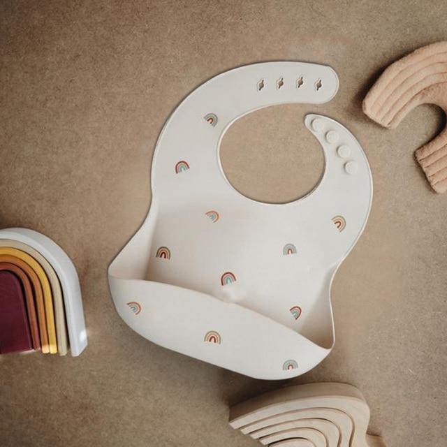 New Silicone Waterproof Baby Bibs Burp Cloths Toddler Kids Toddler Adjustable Wipeable Feeding Apron Saliva Bandana 5 Colors 8