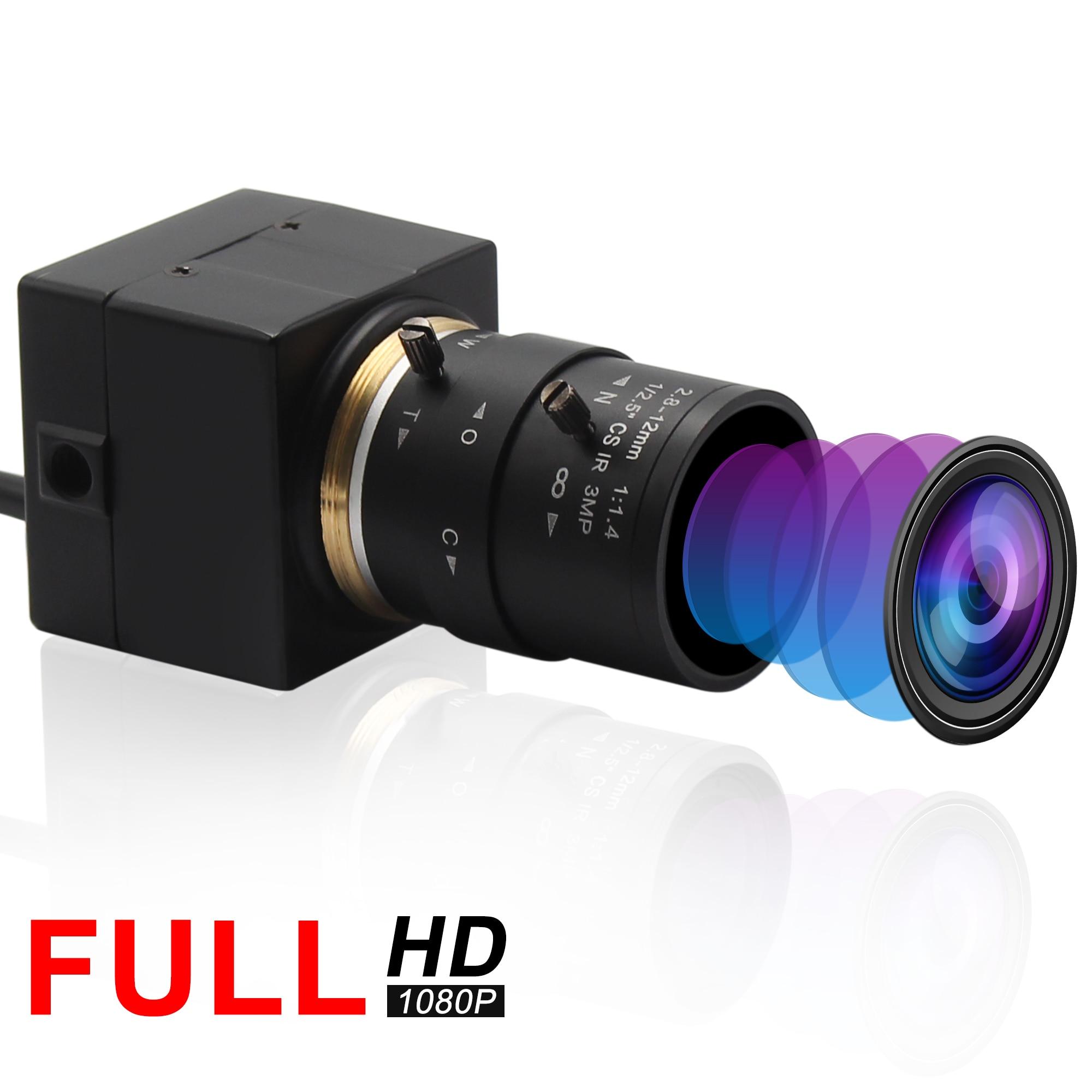 Volle HD 1080P USB Webcam 2,8-12mm Varifocus CS objektiv CMOS OV2710 MJPEG 30fps/60fps/ 120fps USB Kamera für Computer PC Laptops