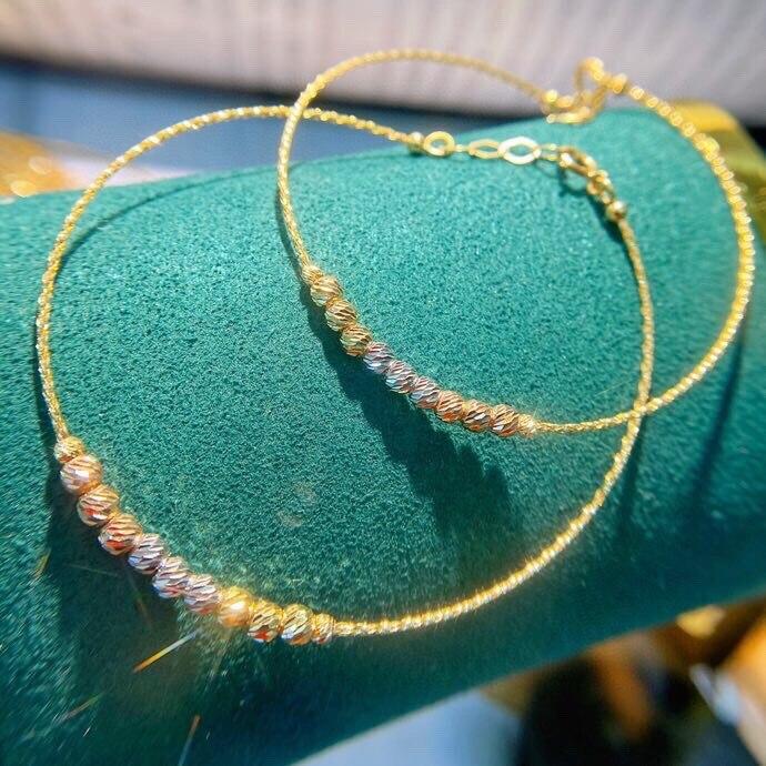 MADALENA SARARA 18K Gold Bangle Genuine Au750 Women Bangle Car Pattern Bead Shinny Colorful More Beautiful