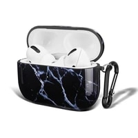 for apple airpods pro case shockproof tpu earphone cover black marble pattern with keychain for airpods pro cases