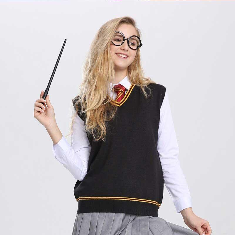Adult Potter Cosplay Gryffindor Slytherin Ravenclaw Hufflepuff Sweater Vest With Tie Men Women V Neck JK Uniform Disfraz D2103AD