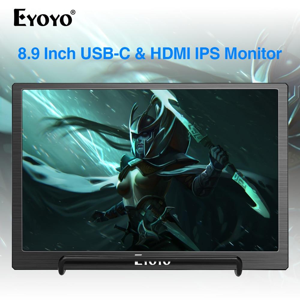 "Eyoyo 8,9 ""portátil USB-C Mini Monitor 1920x1200 IPS pantalla tipo-C HDMI Video para MAC portátil teléfono PS4 Xbox interruptor Raspberry pi"