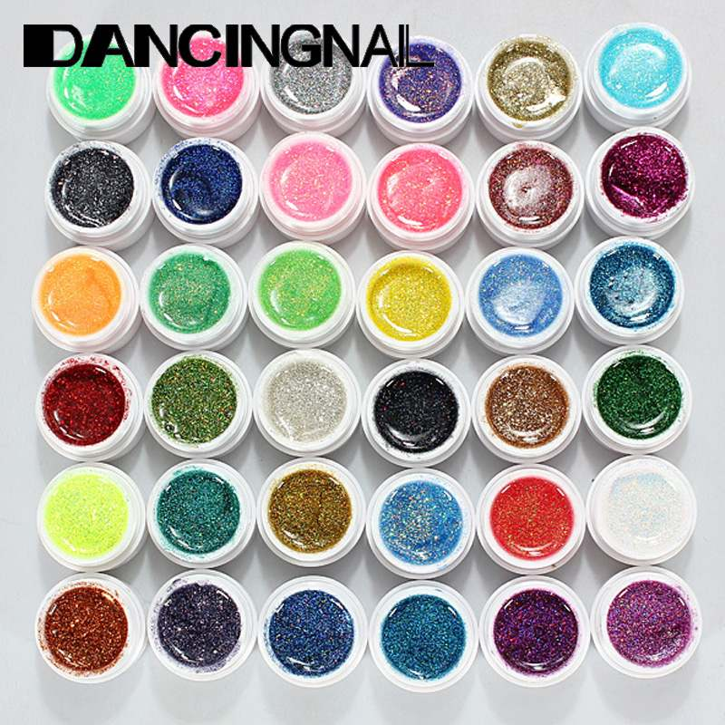 Pro 36Pcs Glitter Mix Color UV Builder Gel Polish Salon Acrylic Set for Nail Art Tips DIY Solid Extension Manicure Sets