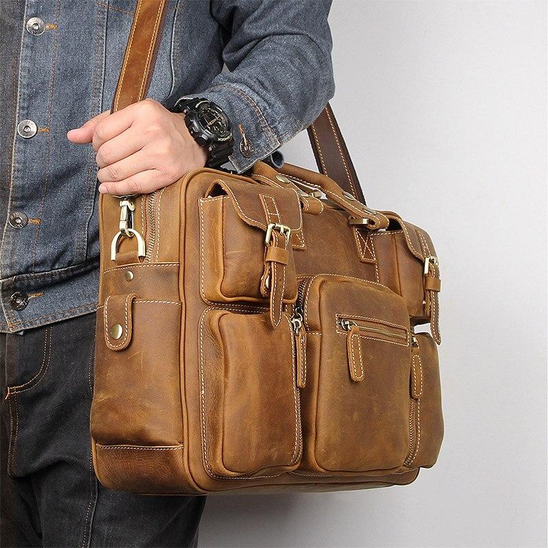 Мужской винтажный портфель crazy horse, кожаная деловая сумка из натуральной кожи 16 дюймов, сумка-мессенджер из коровьей кожи для ноутбука, больш...