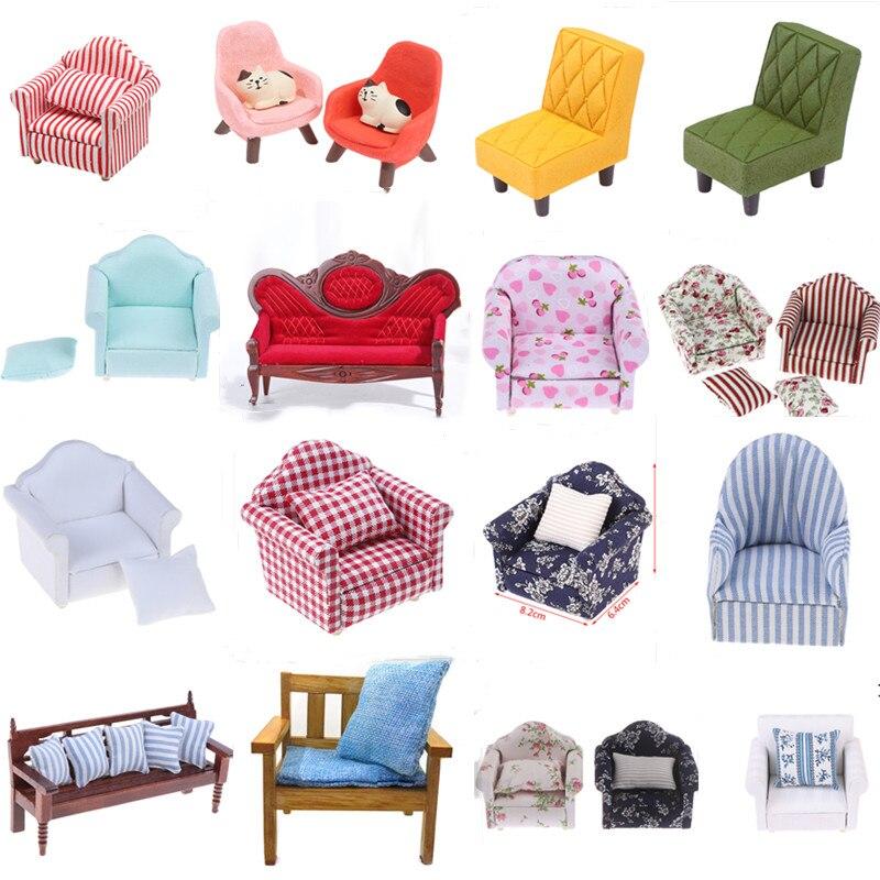 Sofá para casa de muñecas en miniatura con cojines para Barbies, muebles...